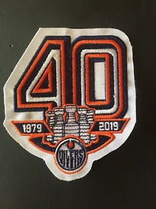 best sneakers e157c 94070 Details about EDMONTON OILERS 40TH ANNIVERSARY TEAM PATCH 1979-2019 JERSEY  STYLE NHL HOCKEY