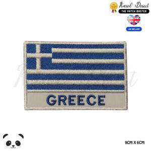 GREECE-National-Flag-With-Name-Embroidered-Iron-On-Sew-On-Patch-Badge