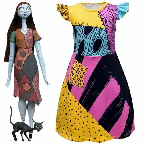Children Girls 5-14yrs Cosplay Dress Nightmare Before Christmas Sally Costume
