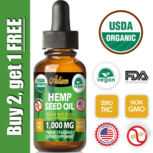 Organic-Hemp-Oil-Extract-for-Pain-Relief-Stress-Sleep-PURE-amp-NATURAL-1000mg