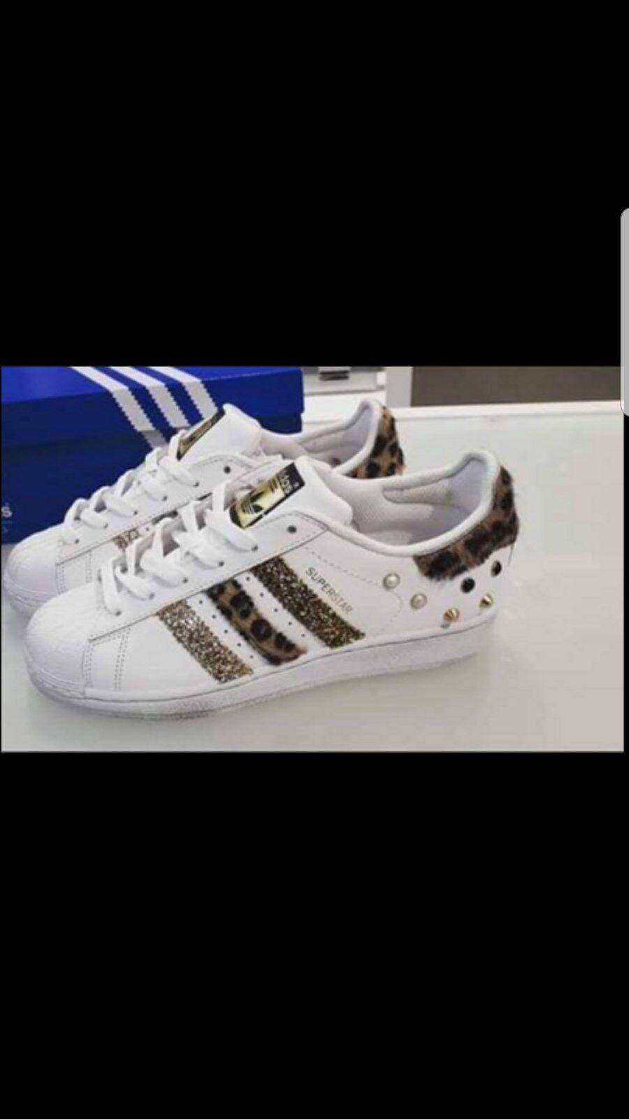 Chaussures adidas super star con tessuto maculato e strisce glitterate e borch-ie