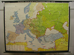 Schulwandkarte Wall Map Europa 1945-1970 Europe after WWII Germany ...