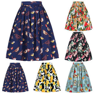 Belle-Poque-Womens-Pleated-Boho-Skirt-Vintage-Casual-Cotton-Cocktail-Skirts-S-XL