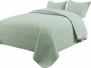 Details About Quilted Bedspread Sage Green Bed Coverlet Light Weight All Size Cover Set