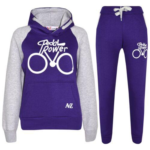 Kids Boys Girls Tracksuit Designer Pedal Power Top /& Bottom Jogging Suit 5-13 Yr