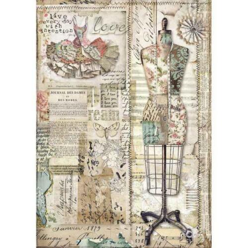 Papier de riz-Motif Paille soie-a4-Stamperia-MANNEQUIN-DFSA 4442