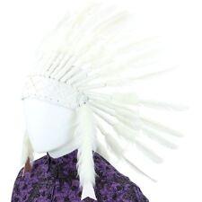 Jefe indio Tocado Plumas Bonnet nativo americano Sombrero Blanco