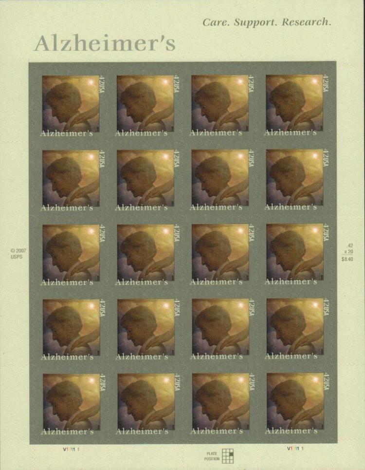2008 42c Alzheimer's Awareness, Sheet of 20 Scott 4358