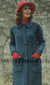 Vintage Crochet Pattern Ladys Long Coatjacketcardigan Ebay
