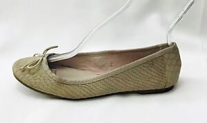 Gap-Classic-Ballet-Flat-Shoes-Taupe-Gray-Leather-Flats-Embossed-Snake-size-8