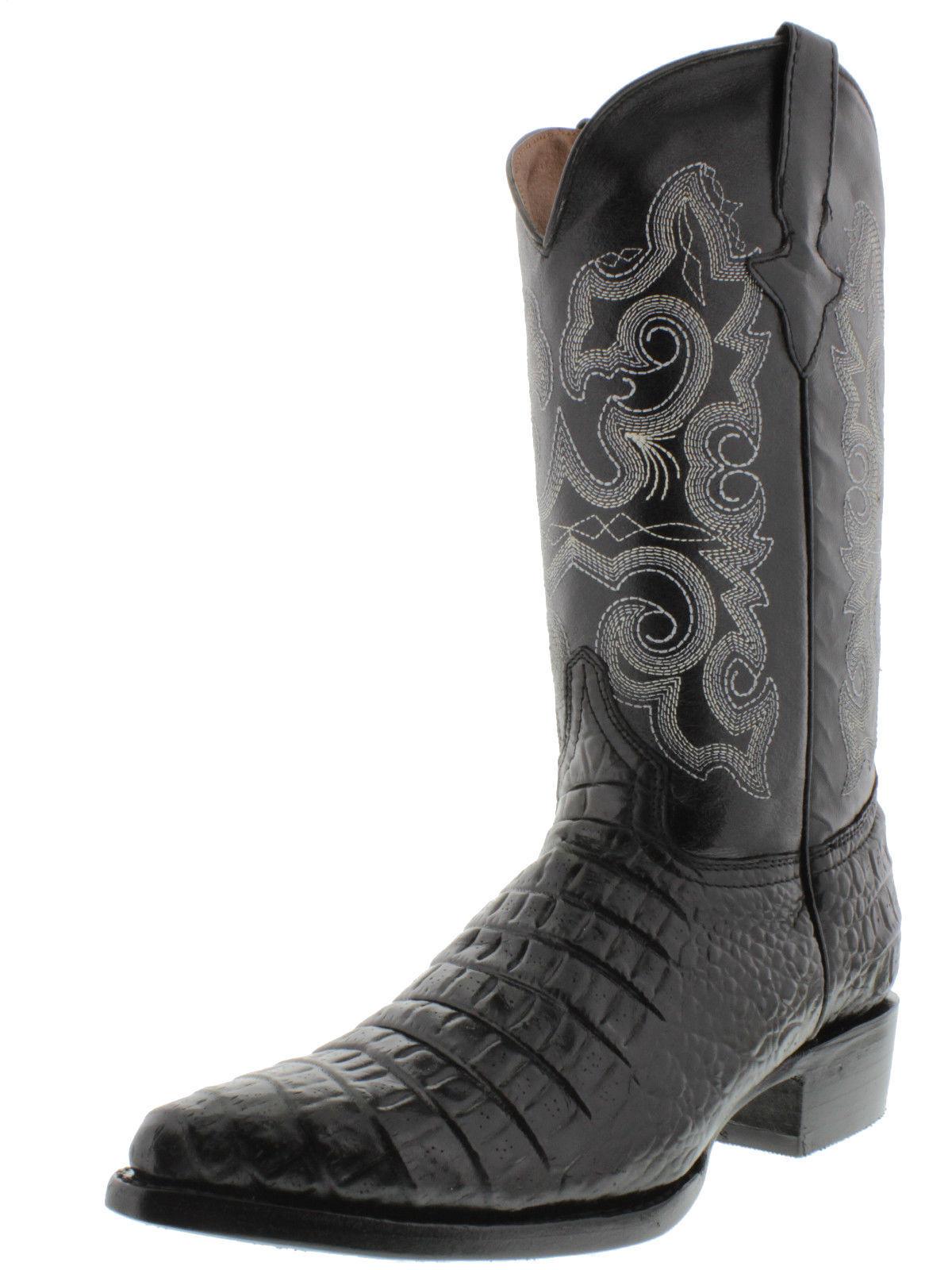 Men's New Leather Crocodile Belly Design Rodeo Toe Western Cowboy Boots J Toe Rodeo Black 6e82de