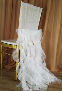 Surprising Details About 2Pcs Pleats Ruffled Organza Wedding Chiavari Chair Covers Curly Willow Sashes Machost Co Dining Chair Design Ideas Machostcouk