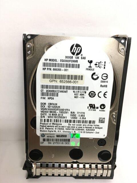 """HP 666355-001 G8/G9 300GB 6G 10K 2.5"""" SAS SC HARD DRIVE EG0300FCHHR"""