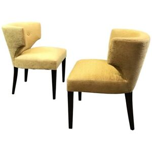 Image Is Loading Pair Of Hollywood Regency Upholstered Klismos Slipper  Chairs