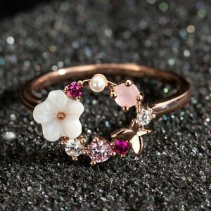 Rose-Gold-Crystal-Flower-Butterfly-Finger-Rings-Charm-Glamour-Wedding-Women-Gift