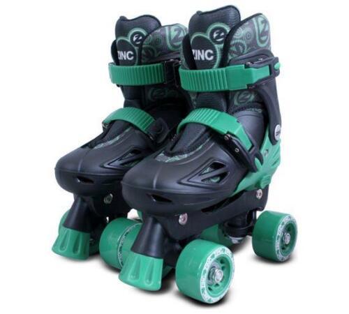 Adjustable size3-13 GREEN//Black Zinc  Quad Roller Skates