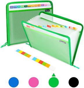 Uquelic 13 Pockets Expanding File Folder, Clear Vinyl Zipper Bags/Wallet Plastic