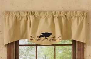 New-Primitive-Country-Appliqued-BLACK-CROW-STAR-BERRY-VINE-Valance-Curtains