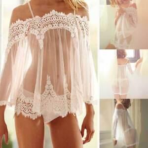 a414d5c25b403 Sexy Femme Nuisette Pyjama + G-string Sous-vêtement Dentelle ...