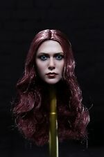 Custom 1:6 Female Head with Red Curly Hairstyle for Action Figure #H011B