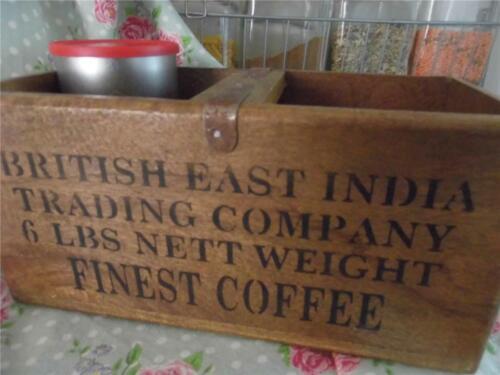 Estilo Vintage Caja De Madera Almacenamiento Cajón British East India Trading Café Fino