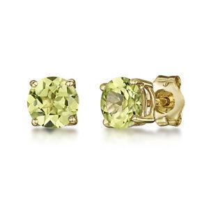 9-Ct-Pendientes-Oro-Amarillo-5mm-Peridoto-Redondo-Engaste-Dormilonas