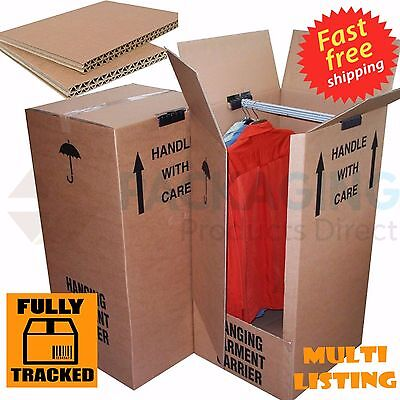 1/3/5/10 LARGE STRONG HOUSE REMOVAL MOVING WARDROBE CARDBOARD BOXES WITH HANGERS