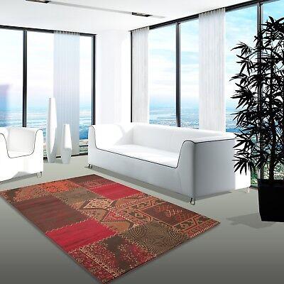 Teppich Modern Desinger Wohnzimmer Contempo Patchwork Rot Braun Orange |  eBay