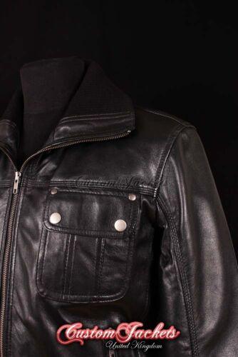 Men/'s HORNET Black AVIATOR Designer Bomber Pilot Real Lambskin Leather Jacket