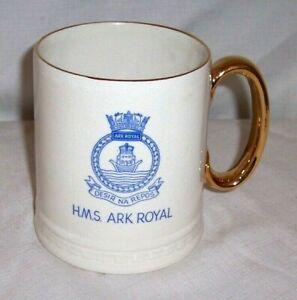 VINTAGE WW2 AIRCRAFT CARRIER 'HMS ARK ROYAL' BEER ALE GOLD TRIM MUG