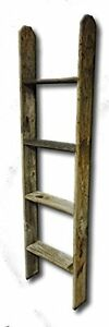 4-039-Tall-Primitive-Barnwood-Display-Ladder-Authentic-Weathered-Wood-New-Free-Sh
