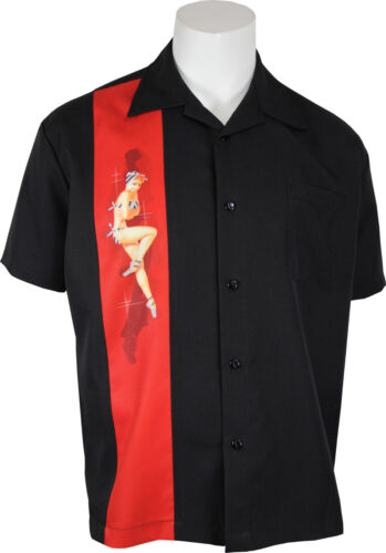1950s Men's Shirt Styles – Dress Shirts to Casual Pullovers    Steady - Bikini Pinup Rockabilly Bowling Panel Shirt. All Sizes. Free Shipping   $46.95 AT vintagedancer.com