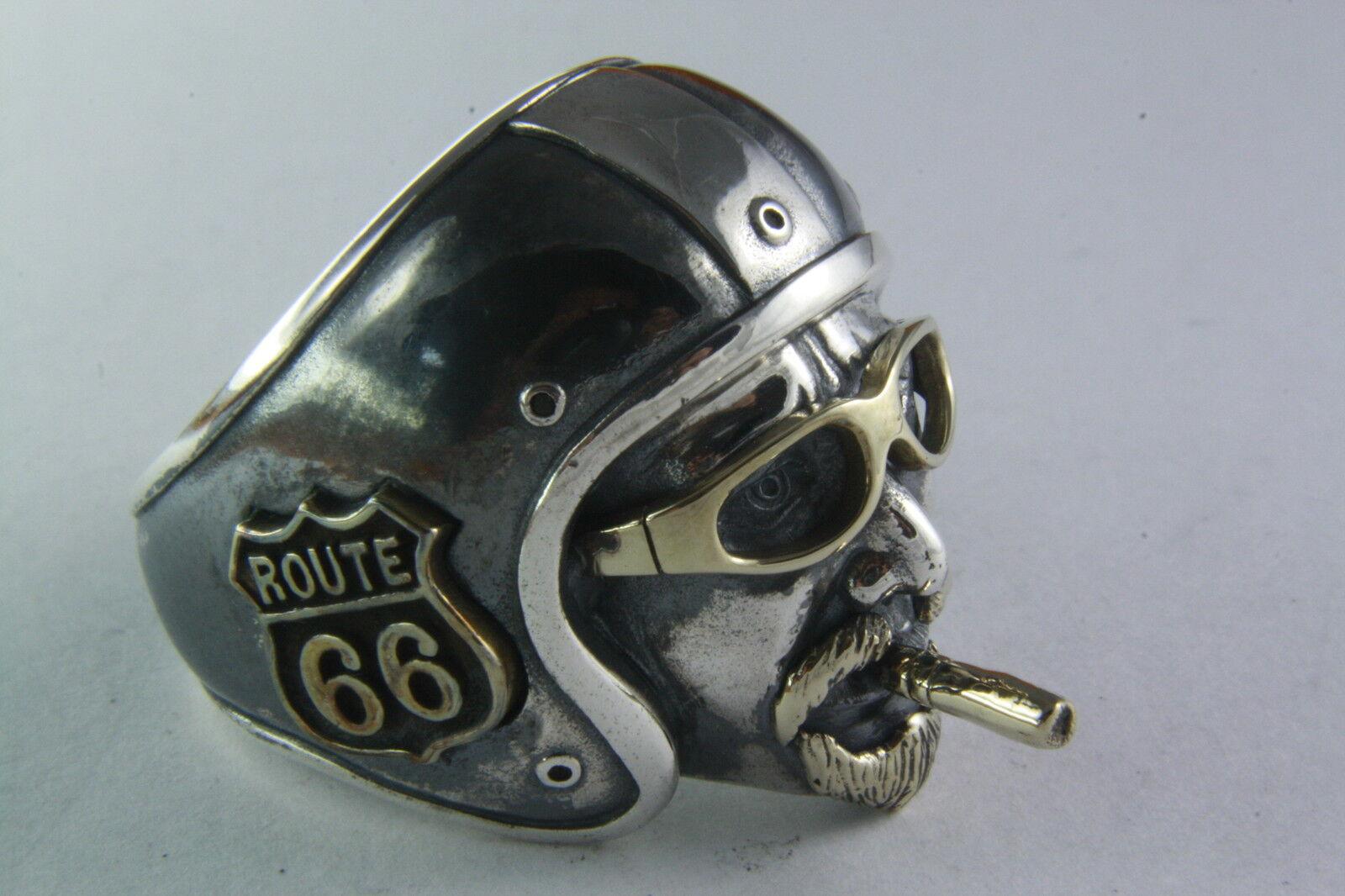 BIKER CHOPPER TOTENKOPFRING ROUTE 66 silverRING 925er silver 254