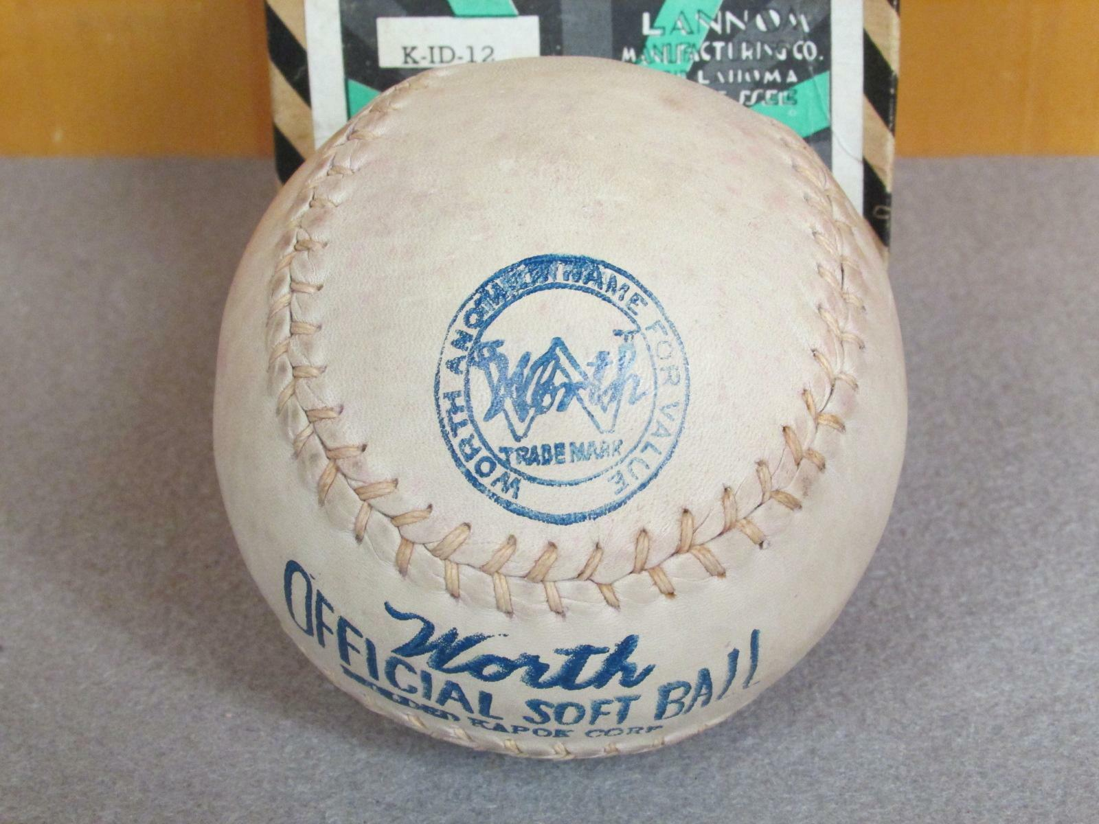 Vintage Vintage Vintage Worth Early Rindsleder Kapok Zentrum Softball 12   mit Orig.box Neu 410079
