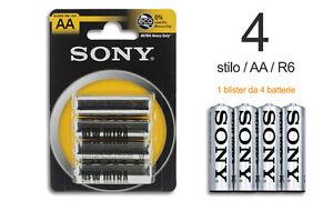 Confezione 4 Pile Batterie Sony New Ultra AA Sum3 R6 1.5V Stilo hsb