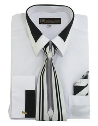 Men/'s Unique Design Dress Shirt Accent Collar and French Cuffs with Tie/&Hanky 34