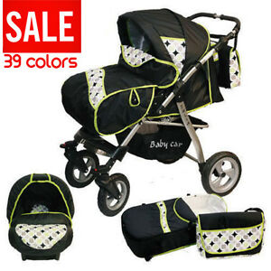 Baby-pram-3in1-Car-Seat-Swivel-Wheels-stroller-pushchair-Buggy-Travel-System