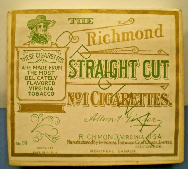 VINTAGE  EMPTY CIGARRETTE BOX --THE RICHMOND No.1 STRAIGHT CUT-- pre 1959