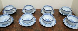 Chinese-Blue-and-White-Classic-Rice-Pattern-Two-sets-cups-amp-saucers-4pc-30