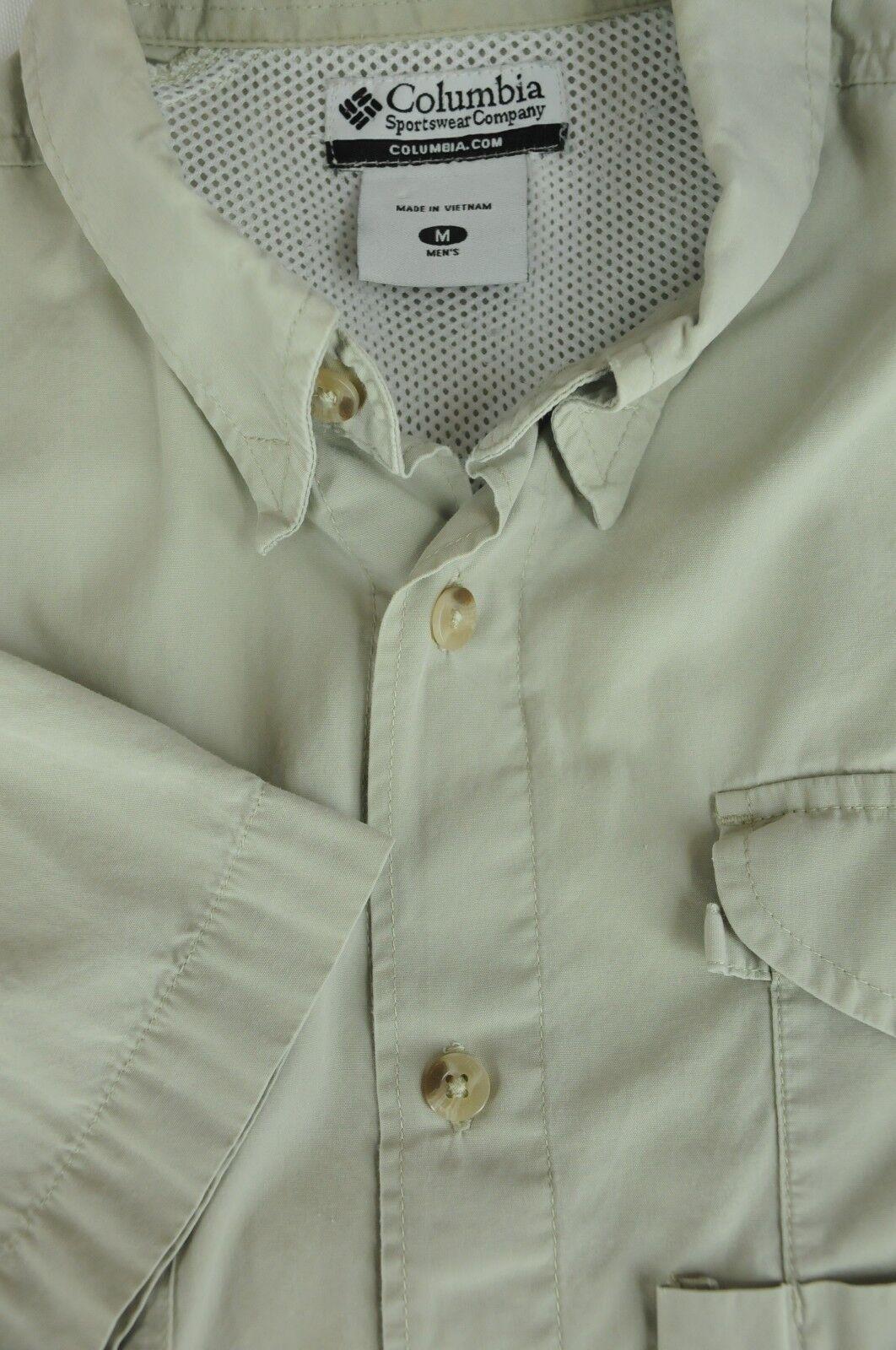 Columbia PFG Men's Desert Sand Short Sleeve Cotton Outdoor Shirt M Medium
