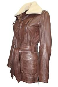 Real Design Luxury Nappa Brown Casual Trench Jacket Leather Style Ladies YqESBHSP4