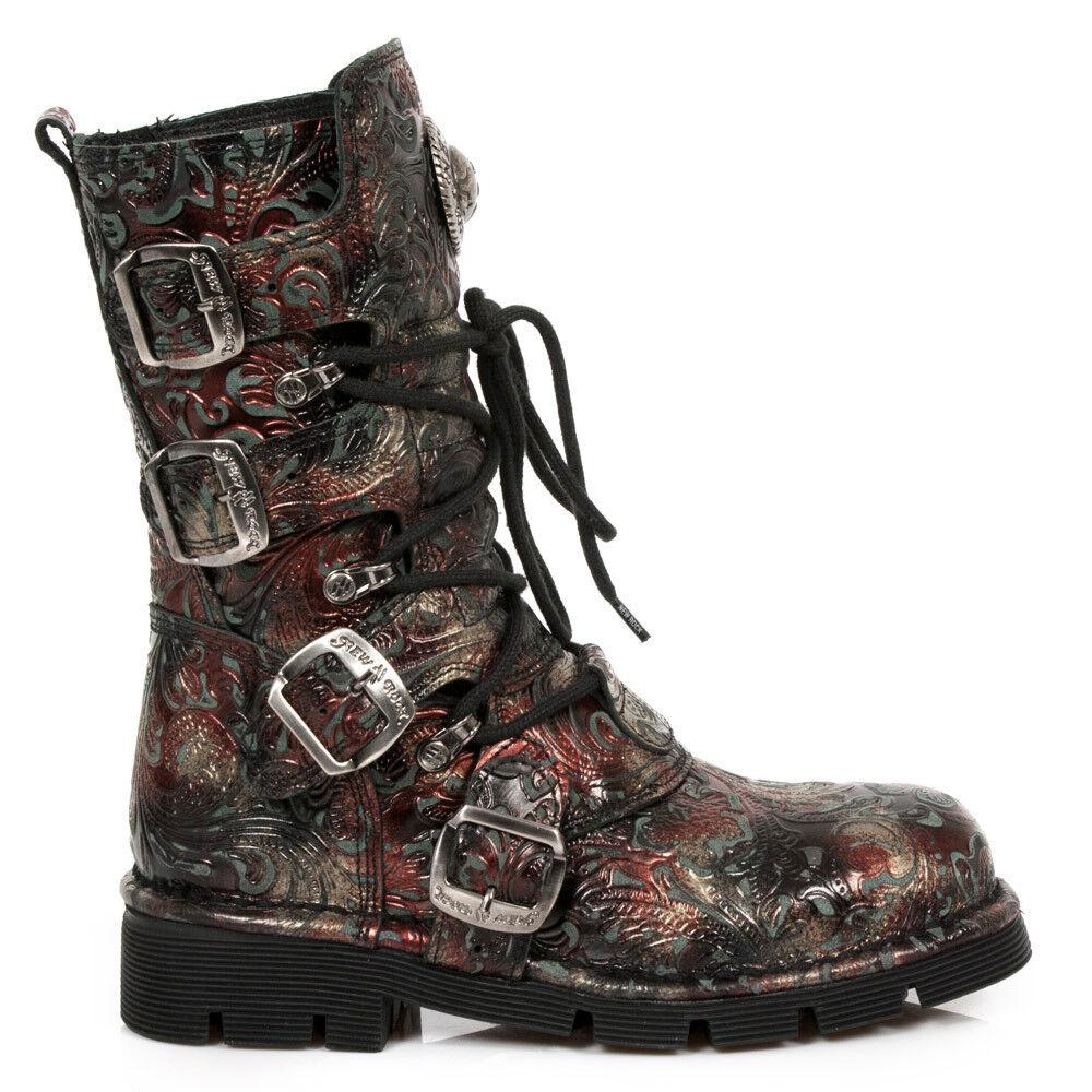 New Rock Vintage Schuhe Gothic Stiefel Boots Leder M.1473-S42 Vintage Rock Flower Rot Brokat 597561