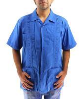 Westline Men's Guayabera Wedding Bartender Cuban Casual Dress Shirt Denim