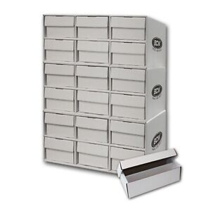 3-Stackable-Cardboard-Sports-Card-House-Box-amp-18-2-Row-1600ct-Storage-Boxes