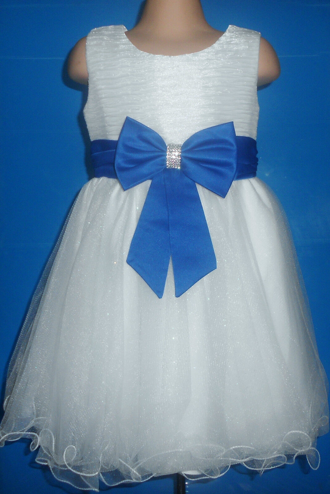 Royal Blue White Flower Girl Bridesmaid Prom Sparkly Diamante Party Dress 0m-14y