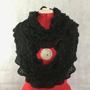 Black Soft Silver Metallic Cable Knit Infinity Scarf Ruffled Edge
