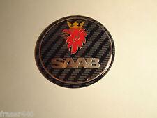 SAAB  CARBON STYLE Bonnet badge 9-3 03-12 & 9-5 97-10 68mm/63mm