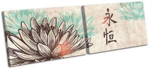 Lotus-Flower-Illustration-Religion-MULTI-CANVAS-WALL-ART-Picture-Print