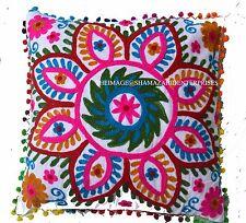 Indian Handmade Suzani Embroidery Pillow Cushion Cover Ethnic Boho Decor Throw_*