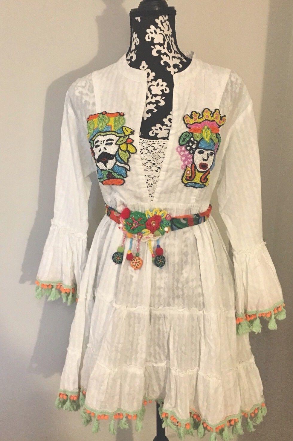Antica Sartoria Positano Vestito in cotone ricamato Robe Dress Vestido
